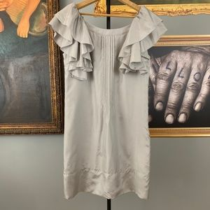Anthropologie Floreat Gray Silk Dress